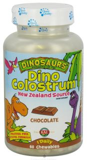 Kal   Dinosaurs Dino Colustrum For Kids Chocolate   60 Chewable Tablets