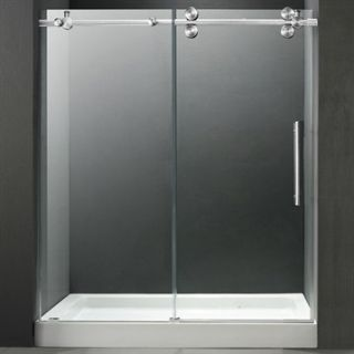 VIGO 60 inch Frameless Shower Door 3/8 Clear/Chrome Hardware with White Base