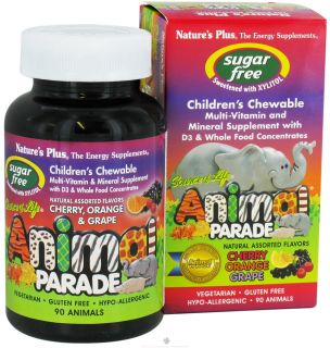 Natures Plus   Source Of Life Animal Parade Childrens Multi Vitamin and Mineral Assorted Cherry, Orange & Grape   90 Chewable Tablets