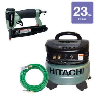 Hitachi 3 Piece 23 Gauge 1 3/8 in. Pin Nailer, 6 Gal. Portable Oil Free Pancake Compressor and 1/4 in. x 25 ft. PVC Air Hose Kit KCP 35 H