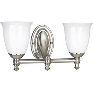 Progress Lighting Victorian Collection Brushed Nickel 2 light Vanity Fixture P3028 09