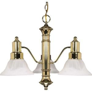 Glomar Gotham 3 Light Polished Brass Chandelier with Alabaster Glass Bell Shades HD 194