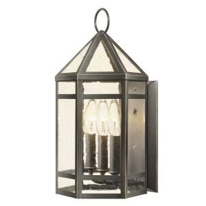 Hampton Bay Exterior Three Light Wall Lantern Oil Rubbed Bronze Finish, Clear Seeded Glass GIK1613A ORB