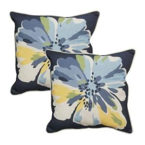 Hampton Bay Splash Floral Outdoor Throw Pillow (2 Pack) 8050 02002300