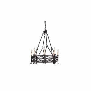 World Imports 8 Light Textured Rust Chandelier   Small WI8001685