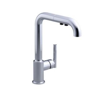 KOHLER Purist Secondary Pull Out Sprayer Kitchen Faucet in Polished Chrome K 7506 CP