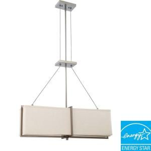 Glomar 4 Light Hazel Bronze Pendant with Khaki Fabric Shade and (4) 13 Watt GU24 Lamps Included HD 4065