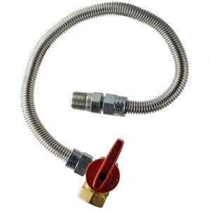 HOME FLEX 1/2 in. MIP x 1/2 in. FIP Gas Valve x 48 in. Stainless Steel Heater Connector HFHC 4N 48