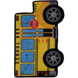 LA Rug Inc. Fun Time Shape School Bus Multi Colored 31 in. x 47 in. Accent Rug FTS 142 3147
