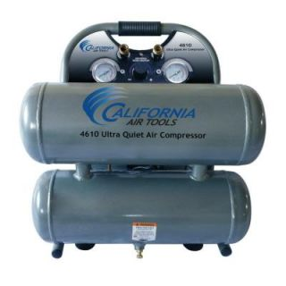 California Air Tools 4.6 Gal. 1 HP Ultra Quiet and Oil Free Steel Twin Tank Air Compressor 4610