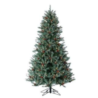Sterling, Inc. 6.5 ft. Pre Lit Diamond Fir Artificial Christmas Tree with Pinecones, Red Berries, and Clear Lights 5739 65C
