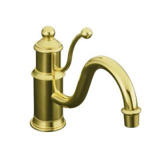 KOHLER Antique Single Hole 1 Handle Kitchen Sink Faucet in Vibrant Polished Brass K 168 PB