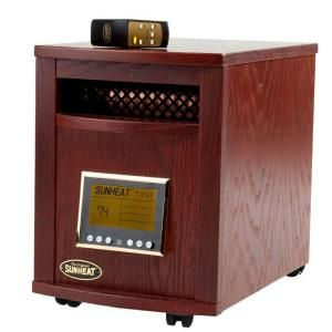 SUNHEAT 17.5 in. 1500 Watt Infrared Electric Portable Heater with Remote Control and Cabinetry   Mahogany SH 1500RC Mahogany