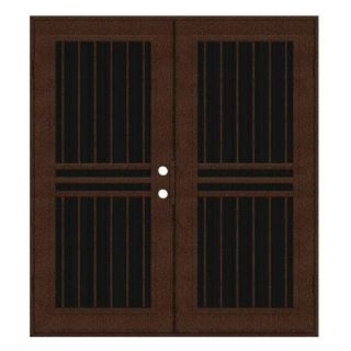 Unique Home Designs Plain Bar 60 in. x 80 in. Copperclad Left Hand Surface Mount Aluminum Security Door with Charcoal Insect Screen 1S1001JL1CCISA