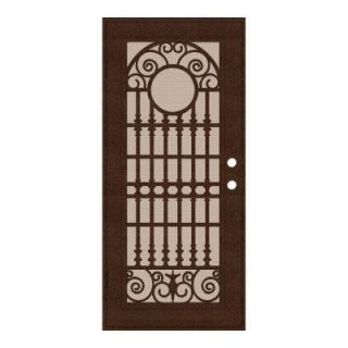 Unique Home Designs Spaniard 36 in. x 80 in. Copper Left Hand Surface Mount Aluminum Security Door with Desert Sand Perforated Screen 1S2029EL2CCP3A