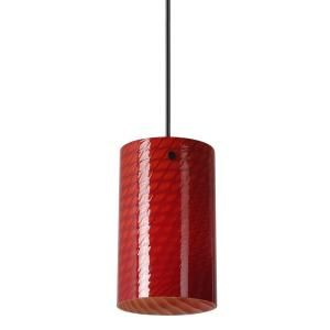Worth Home Products Antique Bronze Finish with Red Cylinder Glass Pendant Light DISCONTINUED PBH 1612 0301