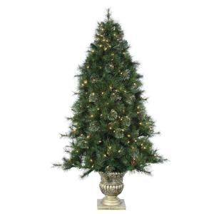 STERLING 6 ft. Potted Pre Lit Artificial Dover Pine Christmas Tree with Clear Lights 5547 60C