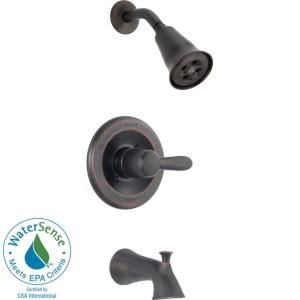 Delta Lahara 1 Handle 1 Spray Tub and Shower Trim in Venetian Bronze featuring H2Okinetic (Valve not included) T14438 RBH2O