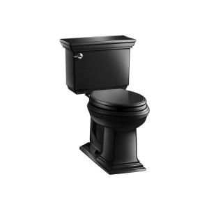 KOHLER Memoirs Stately Comfort Height 2 piece 1.6 GPF Elongated Toilet with AquaPiston Flush Technology in Black Black K 3819 7