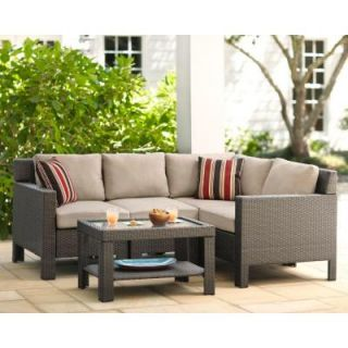 Hampton Bay Beverly 5 Piece Patio Sectional Seating Set with Beige Cushion 65 610233