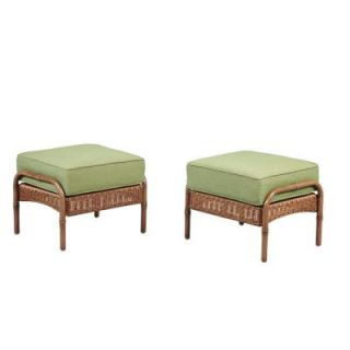 Hampton Bay Clairborne Patio Ottoman with Moss Cushion (2 Pack) DY11079 O