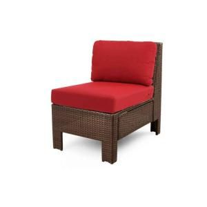 Hampton Bay Beverly Patio Sectional Middle Chair with Dragon Fruit Cushion 65 510233M