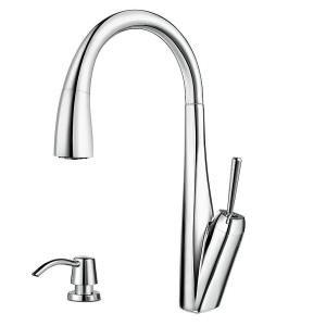 Pfister Zuri Single Handle Pull Down Sprayer Kitchen Faucet with Soap Dispenser in Polished Chrome GT529 MPC