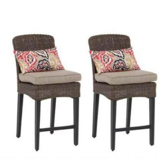Hampton Bay Walnut Creek Patio High Dining Chair with Wheat Cushions (2 Pack) FRS10013H Wheat