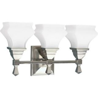 Progress Lighting Bratenahl Collection Brushed Nickel 3 light Vanity Fixture P3297 09