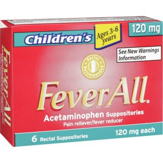 Feverall Childrens Acetaminophen Pain Reliever/Fever Reducer Suppositories, 120mg, 6ct Medicine Cabinet