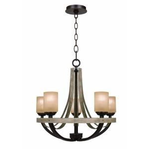 Hampton Bay Croft 5 Light Olive Stone Chandelier 27206