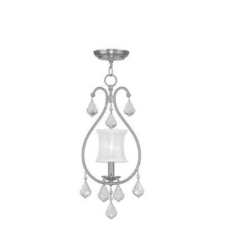Filament Design 1 Light Brushed Nickel Chandelier with Off White Silk Shimmer Shade CLI MEN6300 91