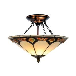 Dale Tiffany 2 Light Tiffany Pebble Stone Antique Bronze Semi Flush Mount TH10493