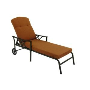Hampton Bay Cedarvale Patio Chaise with Nutmeg Cushions 133 008 CL