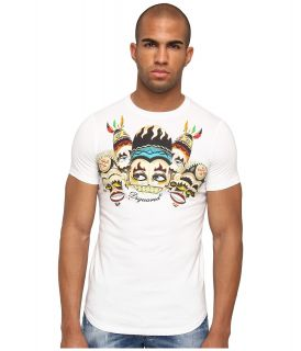 DSQUARED2 Mask Sexy Slim Fit Tee Mens Short Sleeve Pullover (White)