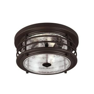 Sea Gull Lighting Sauganash 2 Light Outdoor Antique Bronze Ceiling Flush Mount with Clear Seeded Glass 7824402 71