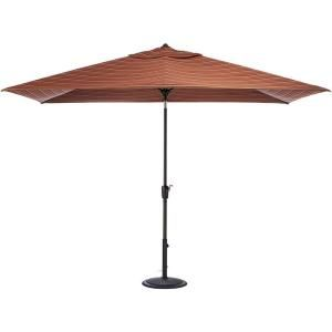Home Decorators Collection 10 ft. Auto Tilt Patio Umbrella in Dorsett Cherry Sunbrella with Black Frame 1549130120
