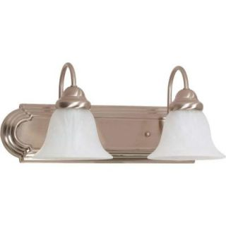 Glomar Ballerina 2 Light Brushed Nickel Vanity with Alabaster Glass Bell Shade HD 320