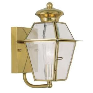 Filament Design Providence Wall Mount 1 Light Outdoor Polished Brass Incandescent Lantern CLI MEN2180 02