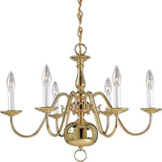 Progress Lighting Americana Collection 6 Light Polished Brass Chandelier P4356 10