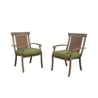 Hampton Bay Bloomfield Woven Patio Dining Chair with Moss Cushion (2 Pack) 14H 039 DC2