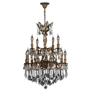 Worldwide Lighting Versailles Collection 15 Light Antique Bronze and Crystal Chandelier W83347B24