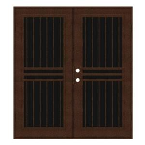 Unique Home Designs Plain Bar 72 in. x 80 in. Copperclad Right Hand Surface Mount Aluminum Security Door with Charcoal Insect Screen 1S1001KL2CCISA