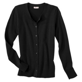 Merona Womens Ultimate Long Sleeve Crew Neck Cardigan   Black   M