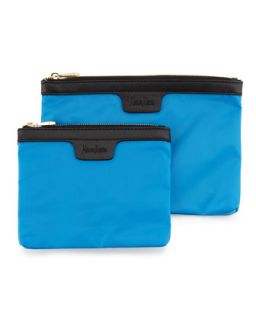 Two Piece Saffiano Trim Nylon Cosmetic Bag Boxed Set, Blue