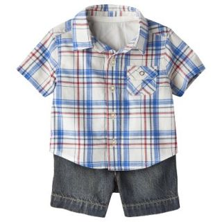 Genuine Kids from OshKosh Boys Plaid Top and Denim Bottom Set   Cream/Blue NB