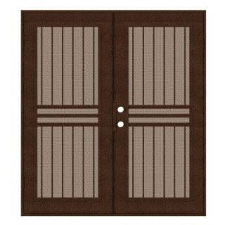 Unique Home Designs Plain Bar 72 in. x 80 in. Copper Right Hand Surface Mount Aluminum Security Door with Desert Sand Perforated Screen 1S1001KL2CCP3A