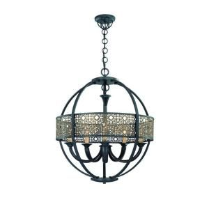 Eurofase Arsenal Collection 5 Light 105 in. Hanging Antique Bronze Chandelier 19368 016