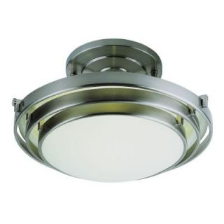 Filament Design Cabernet Collection 1 Light Brushed Nickel Semi Flush Mount with White Frosted Shade CLI WUP259088