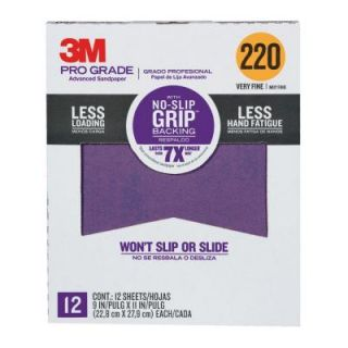 3M 9 in. x 11 in. Pro Grade 220 Grit Very Fine No Slip Grip Advanced Sandpaper (12 pack) 27220CP P G
